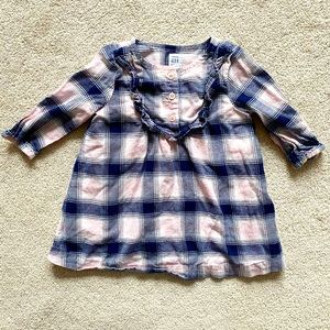 GAP | Navy blue & pink plaid flannel dress